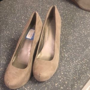 Taupe Faux Suede Wedges